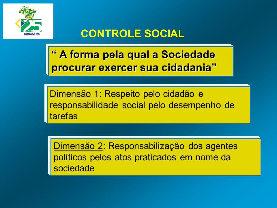 CONTROLE SOCIAL A forma pela qual a Sociedade procurar exercer sua cidadania A forma pela qual a Sociedade procurar exercer sua cidadania Dimensão 1: