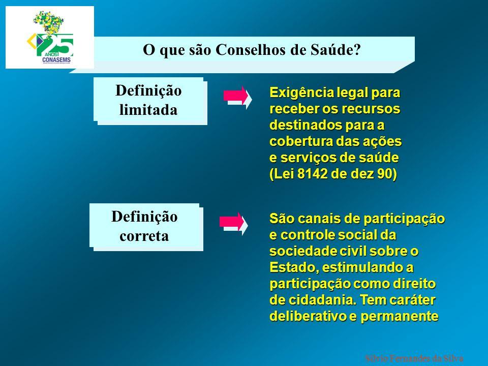 O que são Conselhos de Saúde? Definição limitada Exigência legal para receber os recursos destinados para a cobertura das ações e serviços de saúde (L