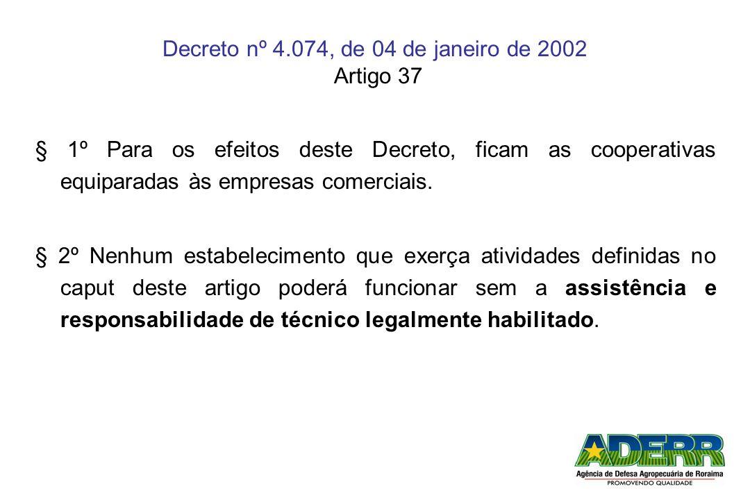 Decreto nº 4.074, de 04 de janeiro de 2002 Artigo 37 § 1º Para os efeitos deste Decreto, ficam as cooperativas equiparadas às empresas comerciais. § 2