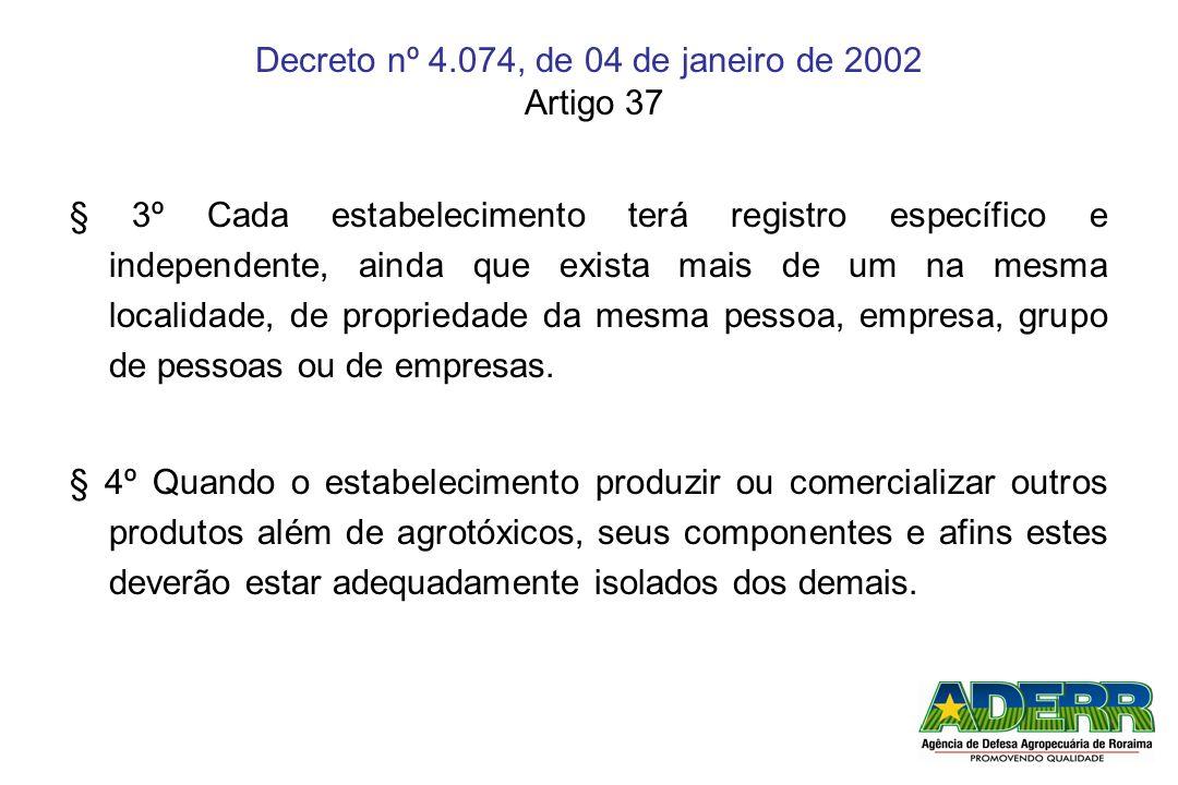 Decreto nº 4.074, de 04 de janeiro de 2002 Artigo 37 § 3º Cada estabelecimento terá registro específico e independente, ainda que exista mais de um na
