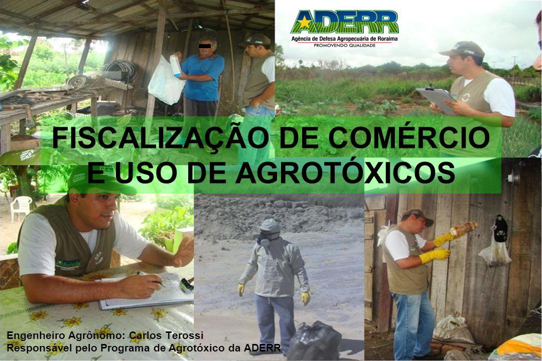 FISCALIZAÇÃO DE COMÉRCIO E USO DE AGROTÓXICOS Engenheiro Agrônomo: Carlos Terossi Responsável pelo Programa de Agrotóxico da ADERR
