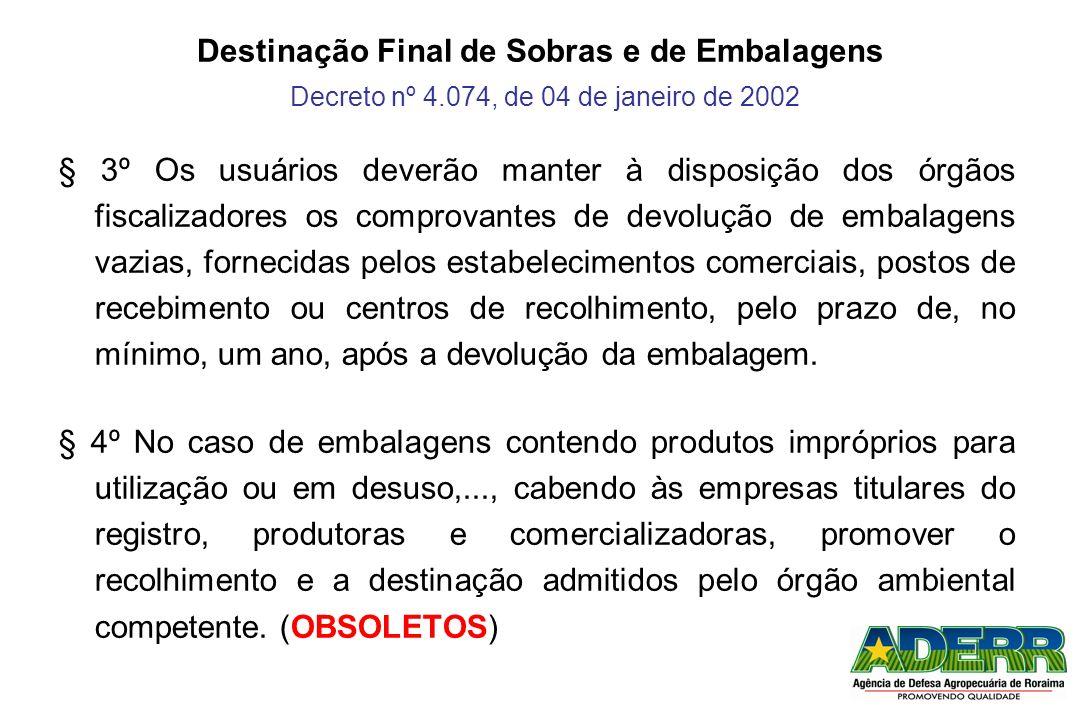 Destinação Final de Sobras e de Embalagens Decreto nº 4.074, de 04 de janeiro de 2002 § 3º Os usuários deverão manter à disposição dos órgãos fiscaliz