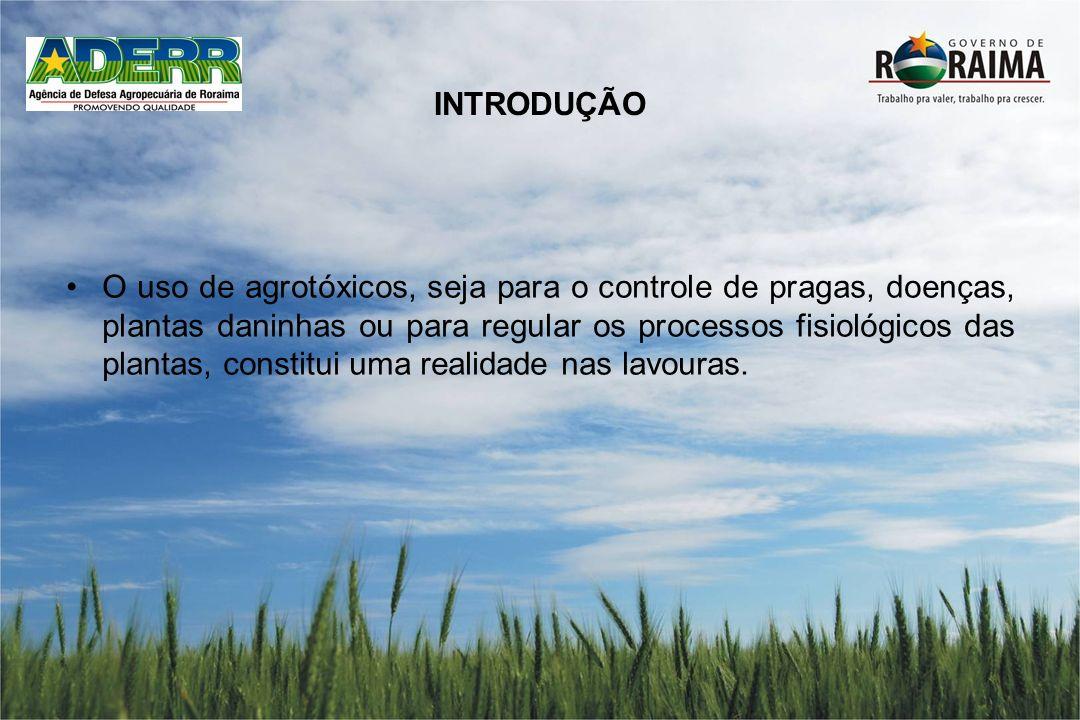 INTRODUÇÃO O uso de agrotóxicos, seja para o controle de pragas, doenças, plantas daninhas ou para regular os processos fisiológicos das plantas, cons