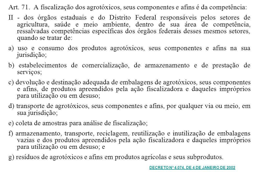 Art. 71. A fiscalização dos agrotóxicos, seus componentes e afins é da competência: II - dos órgãos estaduais e do Distrito Federal responsáveis pelos