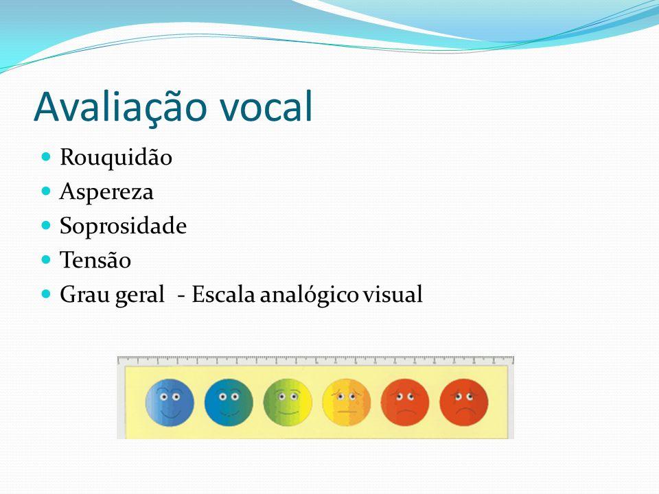 Avaliação especializada Avaliação otorrinolaringológica Avaliação vocal Exames complementares: Espelho de Garcia, Nasofibroscopia, Telelaringoscopia o