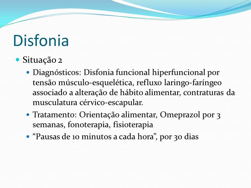 Disfonia Situação 1 Diagnósticos: Refluxo laringo-faríngeo, disfonia funcional Tratamento: Fonoterapia, Omeprazol Afastamento de atividades com demand