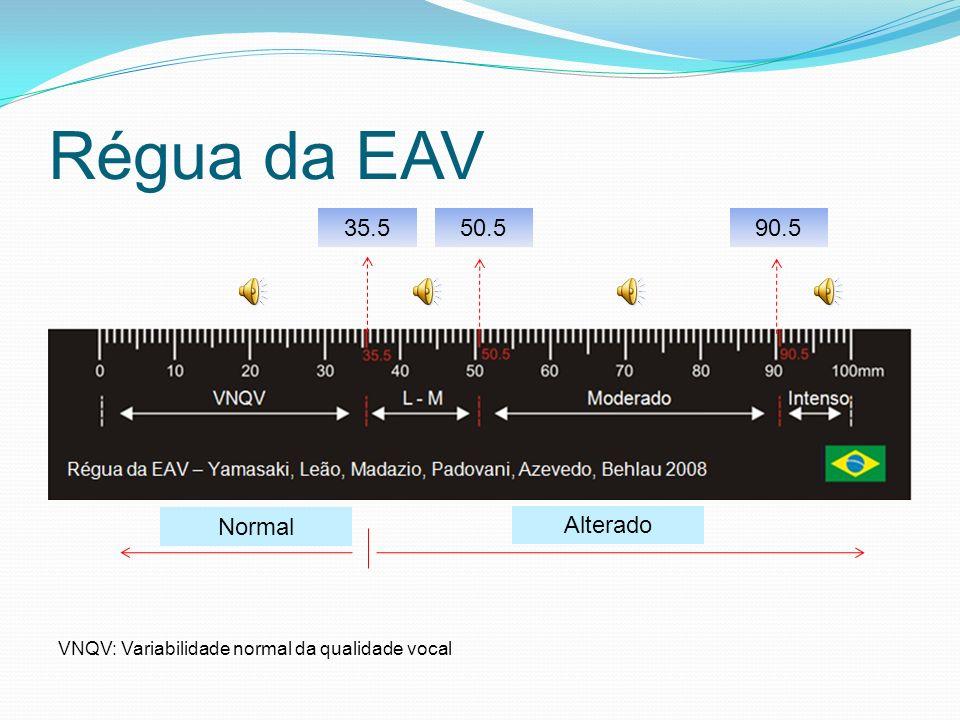 Avaliação vocal Rouquidão Aspereza Soprosidade Tensão Grau geral - Escala analógico visual