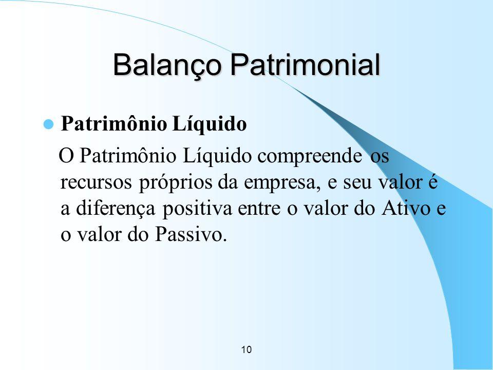 10 Balanço Patrimonial Patrimônio Líquido O Patrimônio Líquido compreende os recursos próprios da empresa, e seu valor é a diferença positiva entre o