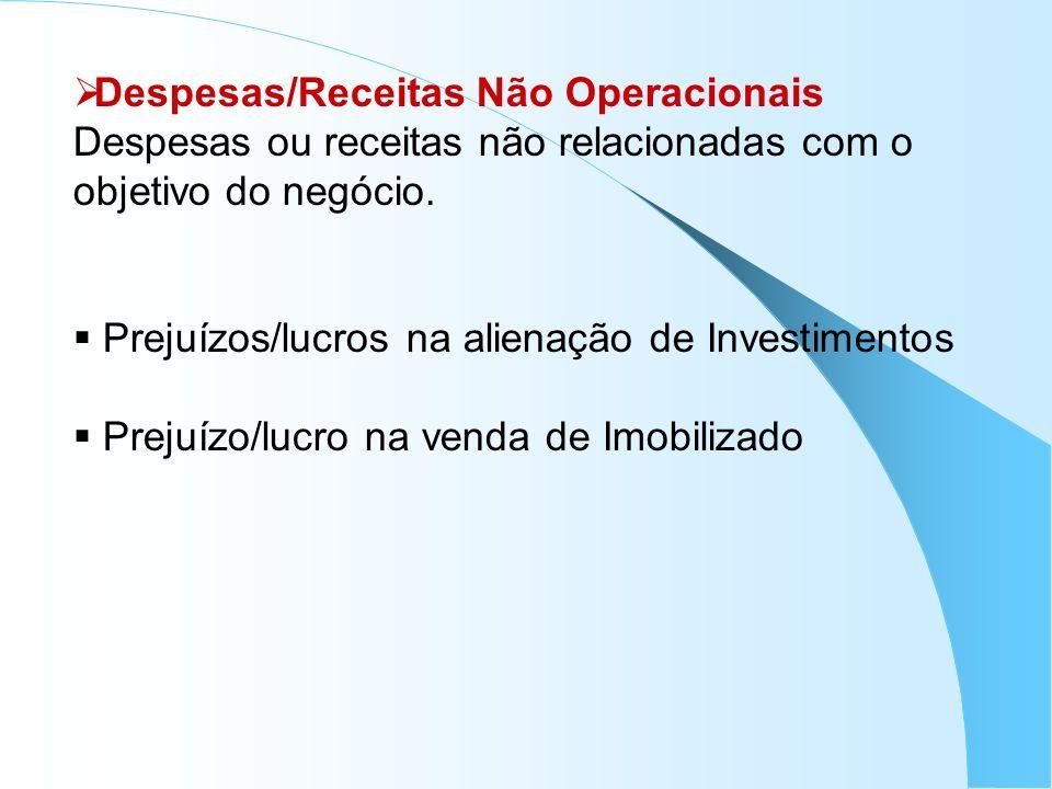Despesas/Receitas Não Operacionais Despesas ou receitas não relacionadas com o objetivo do negócio. Prejuízos/lucros na alienação de Investimentos Pre