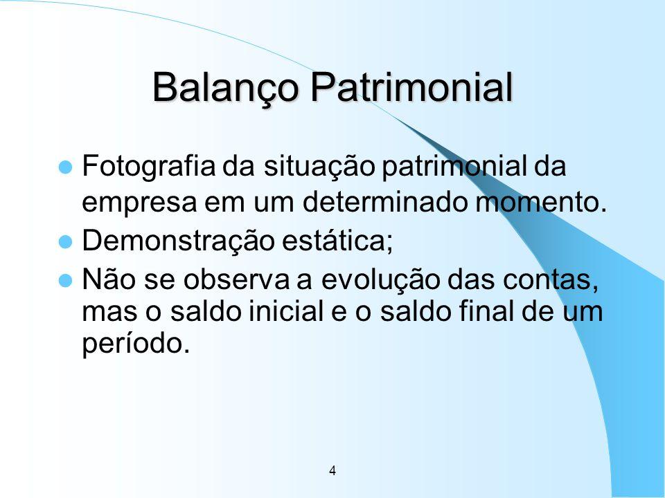 4 Balanço Patrimonial Fotografia da situação patrimonial da empresa em um determinado momento. Demonstração estática; Não se observa a evolução das co