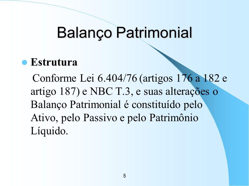 5 Balanço Patrimonial Estrutura Conforme Lei 6.404/76 (artigos 176 a 182 e artigo 187) e NBC T.3, e suas alterações o Balanço Patrimonial é constituíd