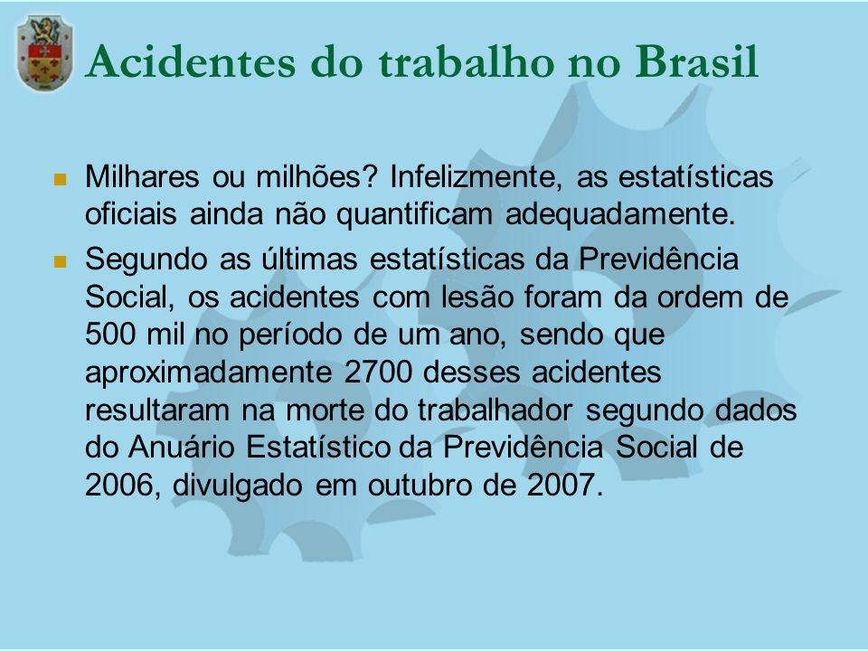Acidentes do trabalho no Brasil Milhares ou milhões? Infelizmente, as estatísticas oficiais ainda não quantificam adequadamente. Segundo as últimas es
