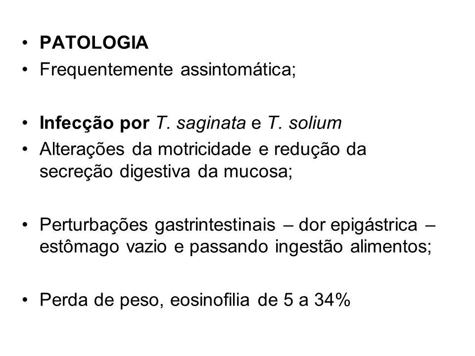 PATOLOGIA Frequentemente assintomática; Infecção por T. saginata e T. solium Alterações da motricidade e redução da secreção digestiva da mucosa; Pert