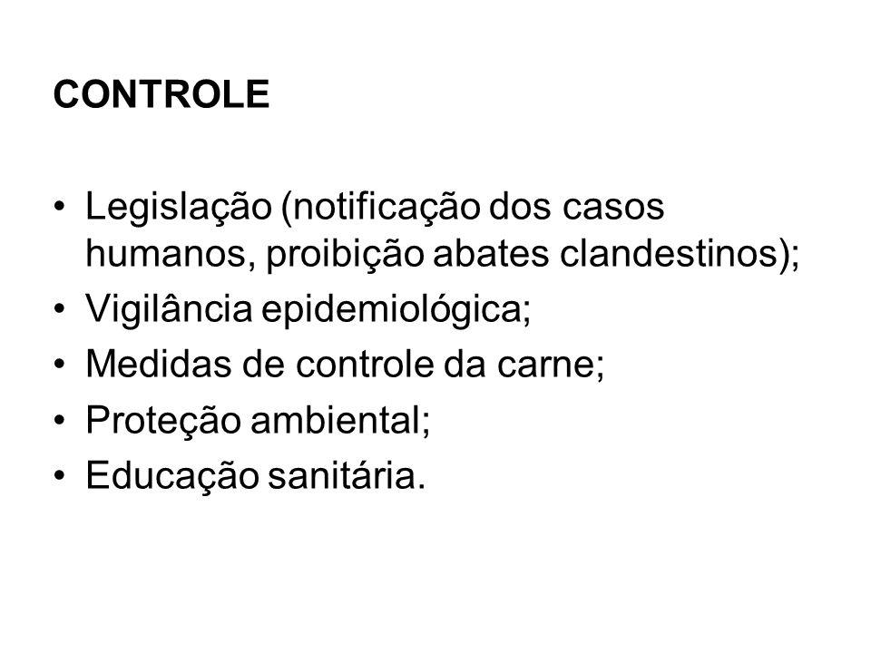 CONTROLE Legislação (notificação dos casos humanos, proibição abates clandestinos); Vigilância epidemiológica; Medidas de controle da carne; Proteção