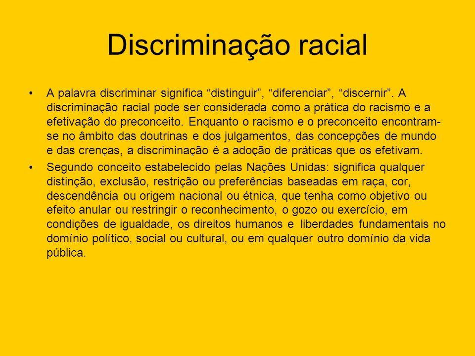 Discriminação racial A palavra discriminar significa distinguir, diferenciar, discernir. A discriminação racial pode ser considerada como a prática do