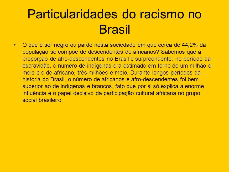 Particularidades do racismo no Brasil O que é ser negro ou pardo nesta sociedade em que cerca de 44,2% da população se compõe de descendentes de afric