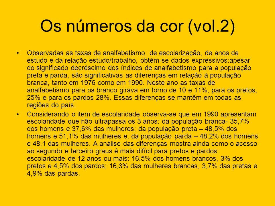 Os números da cor (vol.2) Observadas as taxas de analfabetismo, de escolarização, de anos de estudo e da relação estudo/trabalho, obtém-se dados expre