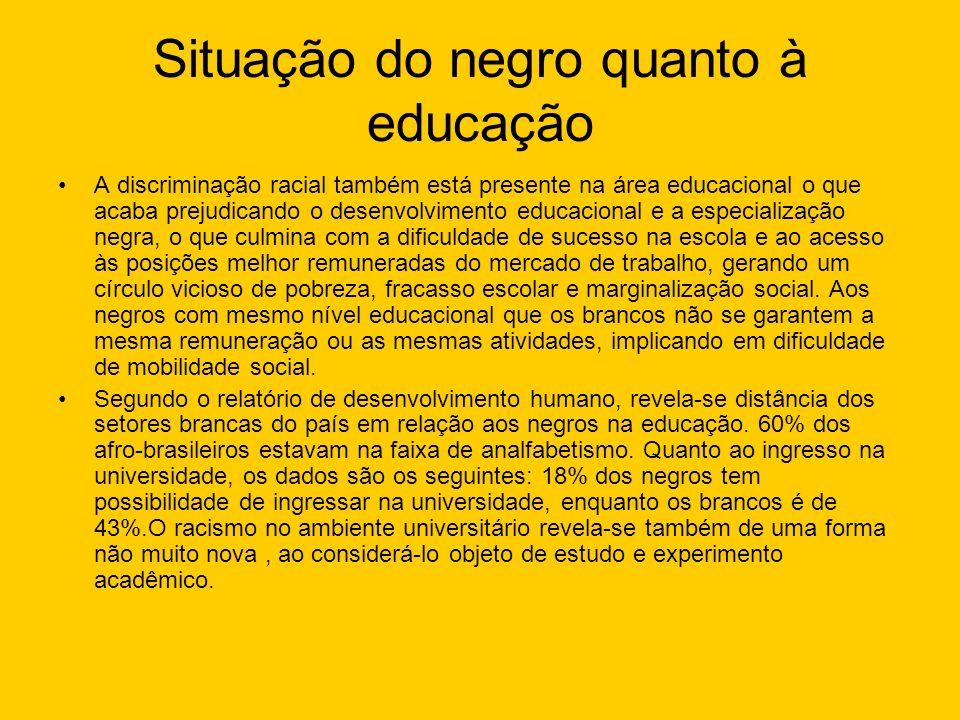 Situação do negro quanto à educação A discriminação racial também está presente na área educacional o que acaba prejudicando o desenvolvimento educaci
