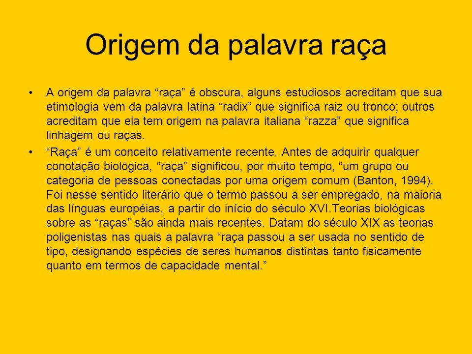 Origem da palavra raça A origem da palavra raça é obscura, alguns estudiosos acreditam que sua etimologia vem da palavra latina radix que significa ra
