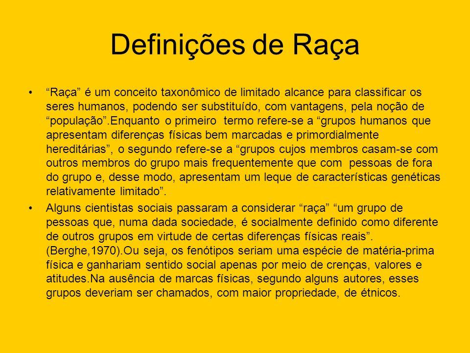 Definições de Raça Raça é um conceito taxonômico de limitado alcance para classificar os seres humanos, podendo ser substituído, com vantagens, pela n
