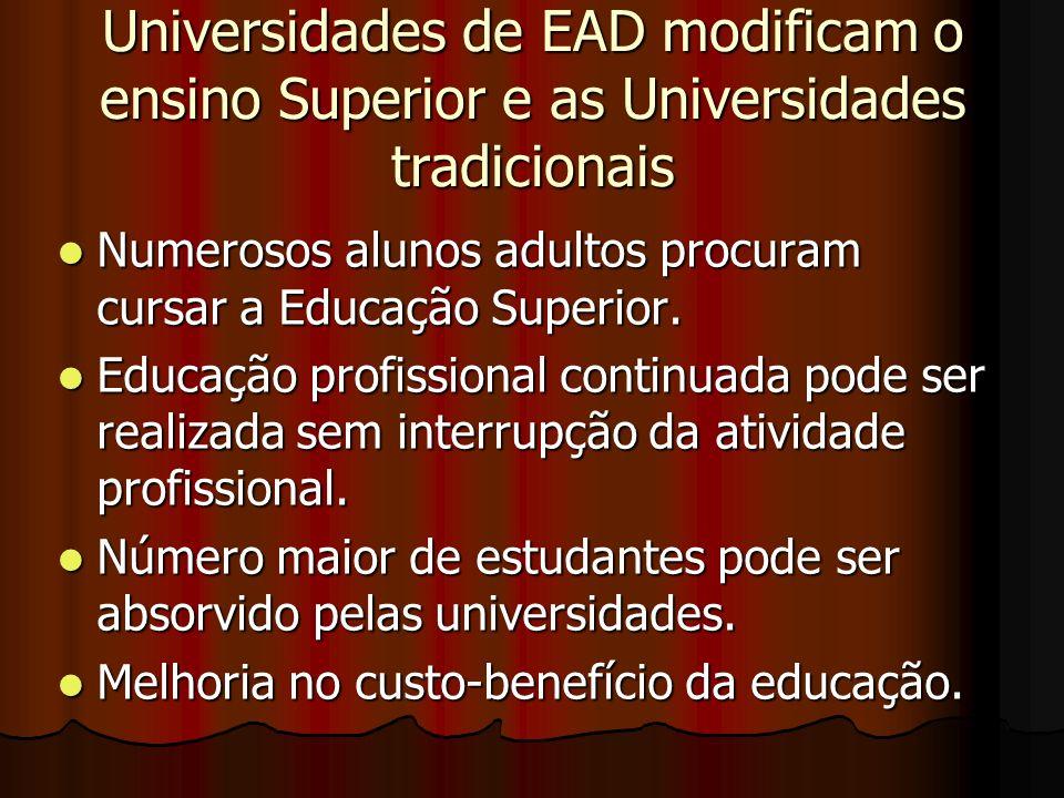 Universidades de EAD modificam o ensino Superior e as Universidades tradicionais Numerosos alunos adultos procuram cursar a Educação Superior. Numeros