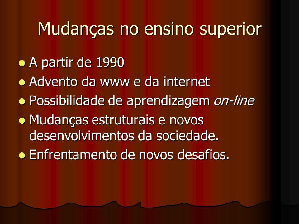 Mudanças no ensino superior A partir de 1990 A partir de 1990 Advento da www e da internet Advento da www e da internet Possibilidade de aprendizagem