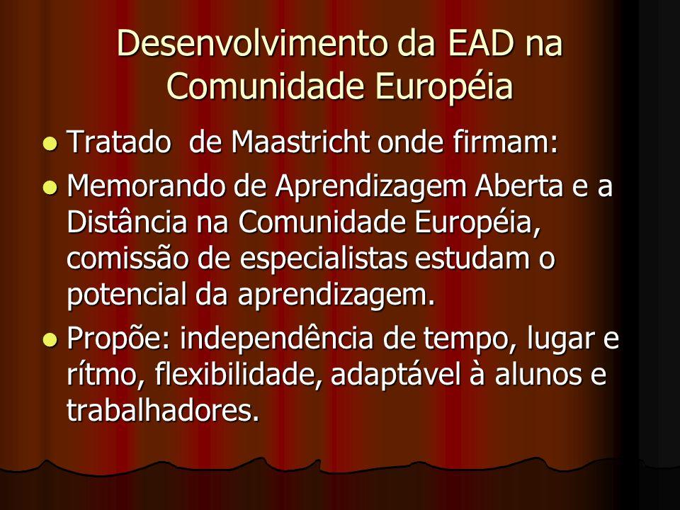 Desenvolvimento da EAD na Comunidade Européia Tratado de Maastricht onde firmam: Tratado de Maastricht onde firmam: Memorando de Aprendizagem Aberta e