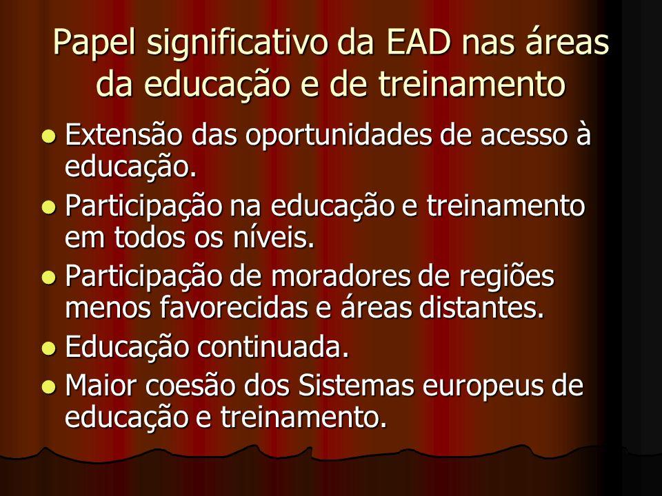 Papel significativo da EAD nas áreas da educação e de treinamento Extensão das oportunidades de acesso à educação. Extensão das oportunidades de acess