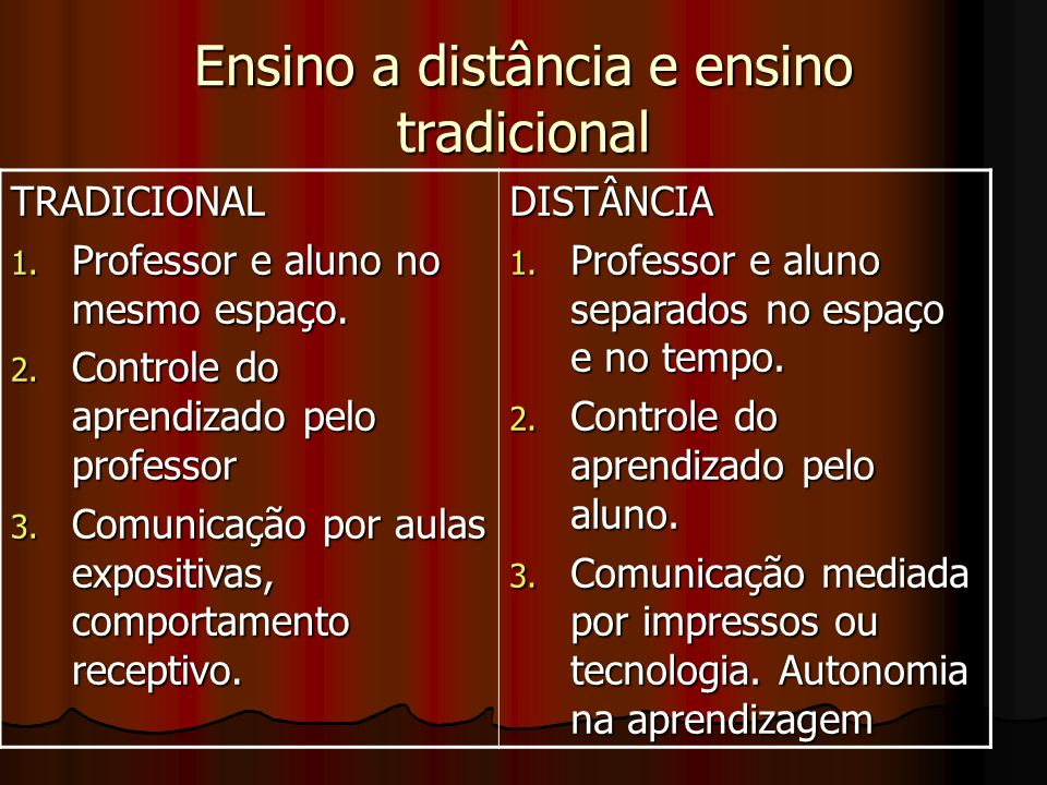 Ensino a distância e ensino tradicional TRADICIONAL 1. Professor e aluno no mesmo espaço. 2. Controle do aprendizado pelo professor 3. Comunicação por