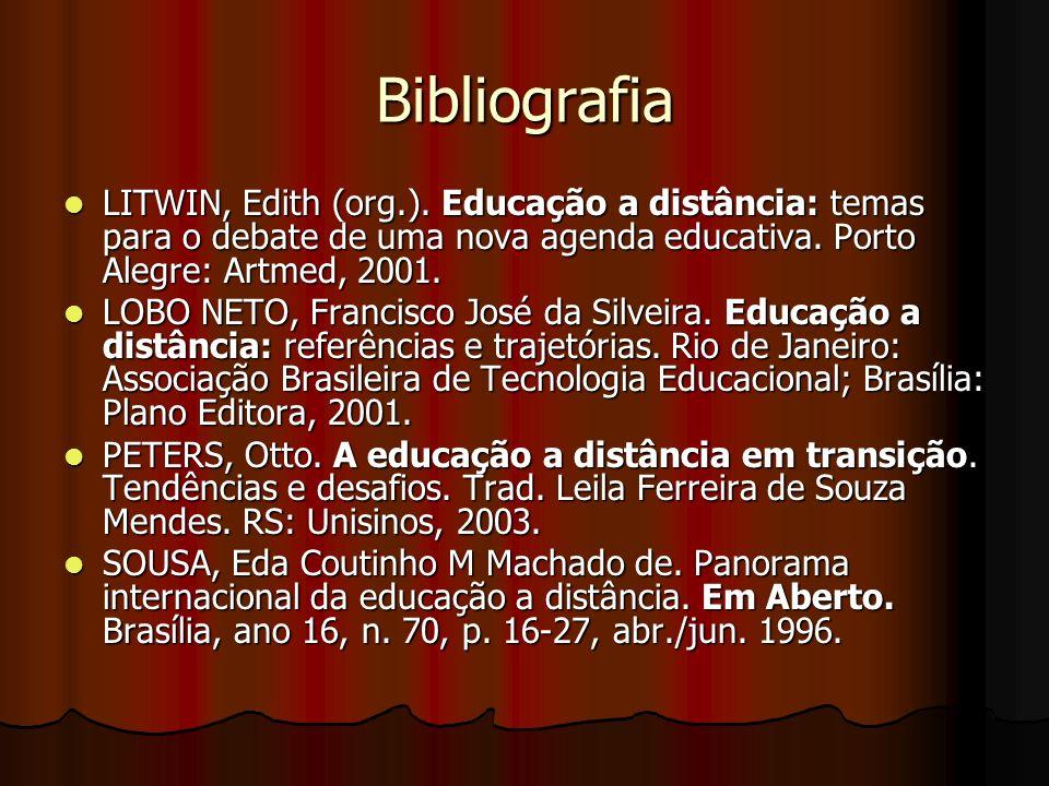 Bibliografia LITWIN, Edith (org.). Educação a distância: temas para o debate de uma nova agenda educativa. Porto Alegre: Artmed, 2001. LITWIN, Edith (