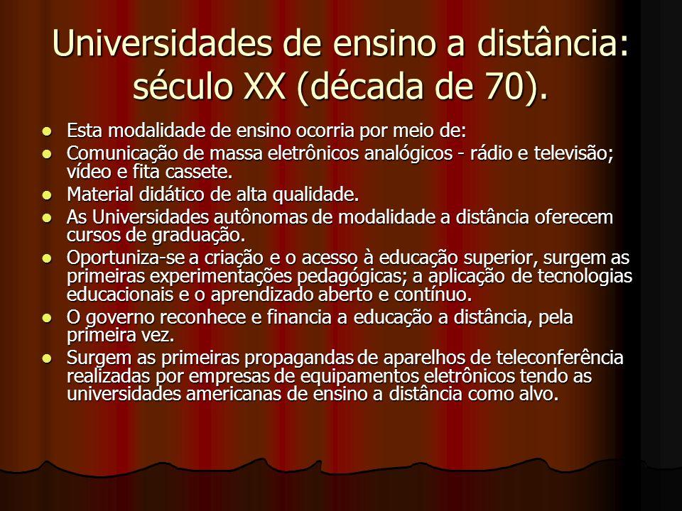Universidades de ensino a distância: século XX (década de 70). Esta modalidade de ensino ocorria por meio de: Esta modalidade de ensino ocorria por me