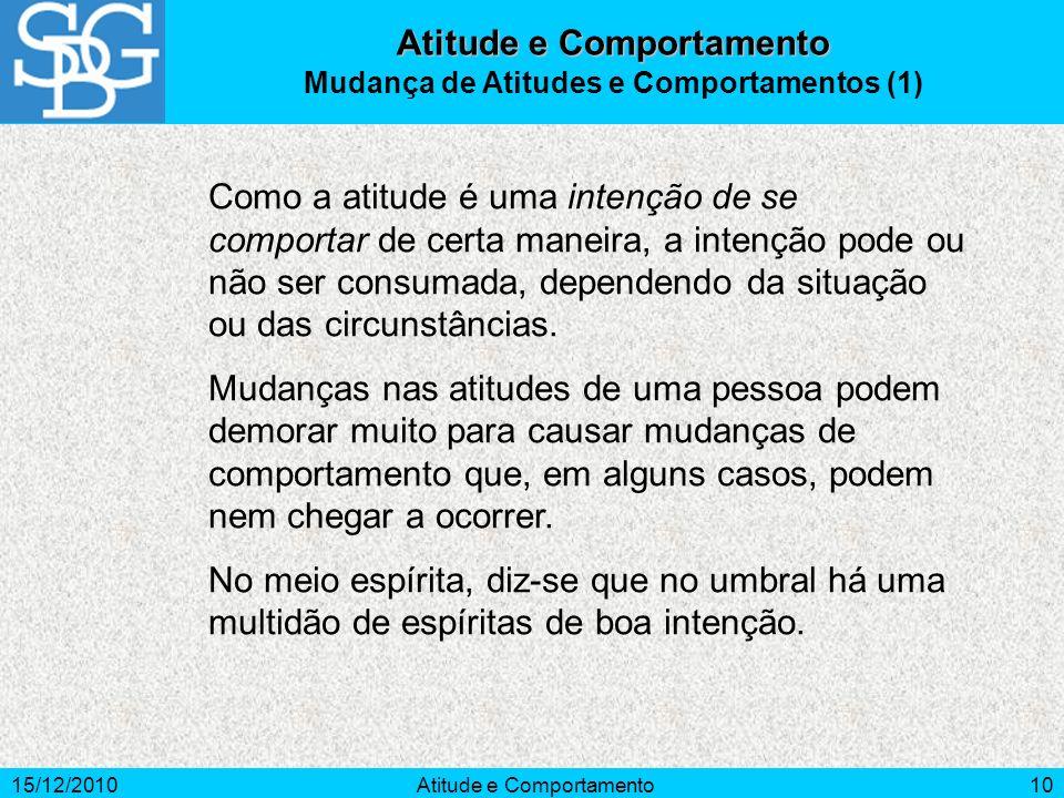 15/12/2010Atitude e Comportamento10 Atitude e Comportamento Mudança de Atitudes e Comportamentos (1) Como a atitude é uma intenção de se comportar de