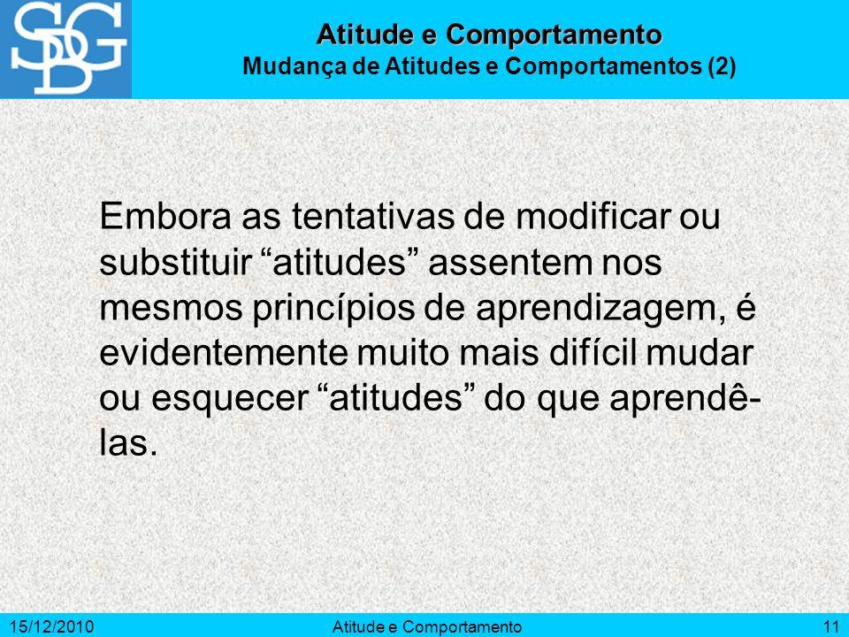 15/12/2010Atitude e Comportamento11 Embora as tentativas de modificar ou substituir atitudes assentem nos mesmos princípios de aprendizagem, é evident