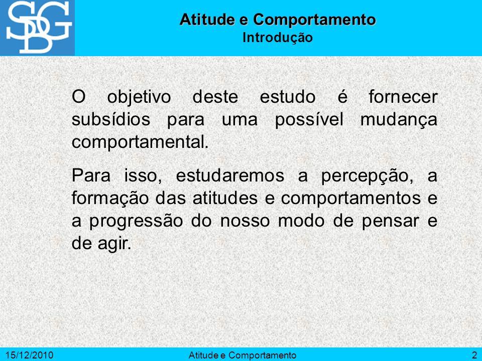 15/12/2010Atitude e Comportamento2 Introdução O objetivo deste estudo é fornecer subsídios para uma possível mudança comportamental. Para isso, estuda