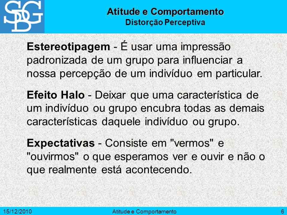 15/12/2010Atitude e Comportamento6 Estereotipagem - É usar uma impressão padronizada de um grupo para influenciar a nossa percepção de um indivíduo em