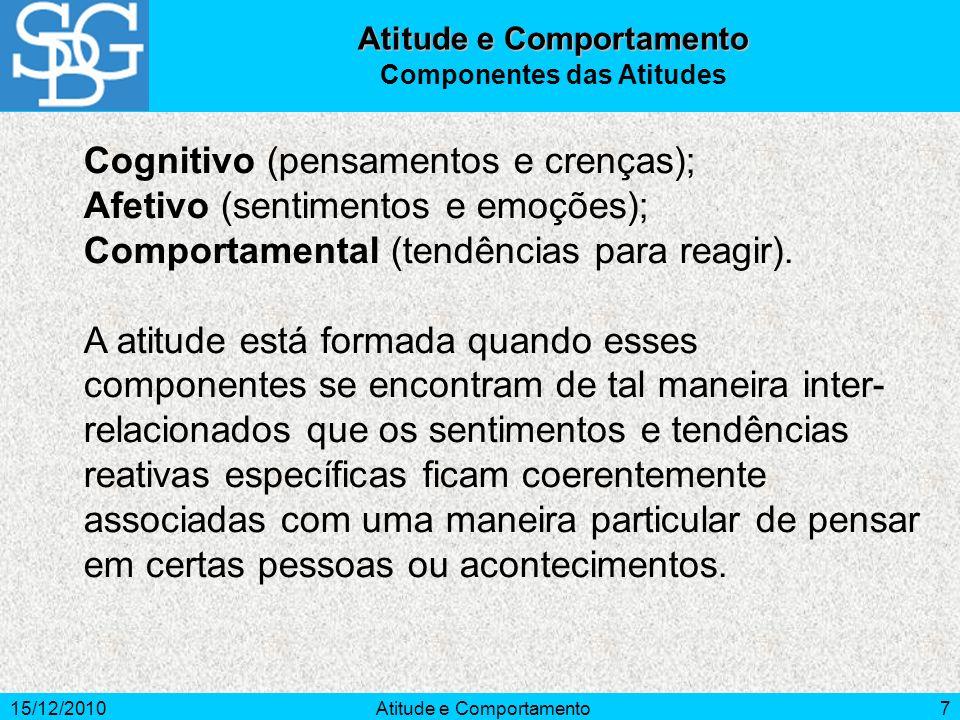 15/12/2010Atitude e Comportamento7 Cognitivo (pensamentos e crenças); Afetivo (sentimentos e emoções); Comportamental (tendências para reagir). A atit