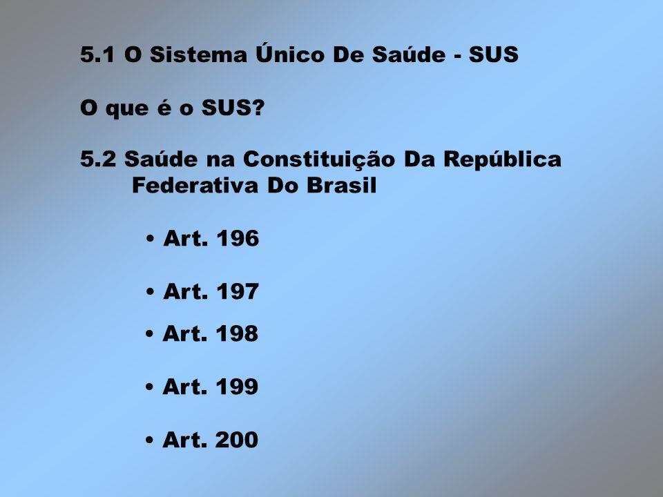 5.1 O Sistema Único De Saúde - SUS O que é o SUS? 5.2 Saúde na Constituição Da República Federativa Do Brasil Art. 196 Art. 197 Art. 198 Art. 199 Art.