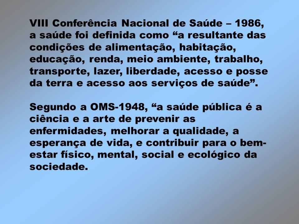 VIII Conferência Nacional de Saúde – 1986, a saúde foi definida como a resultante das condições de alimentação, habitação, educação, renda, meio ambie