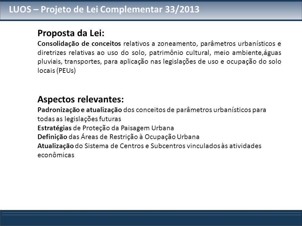 Proposta da Lei: Consolidação de conceitos relativos a zoneamento, parâmetros urbanísticos e diretrizes relativas ao uso do solo, patrimônio cultural,