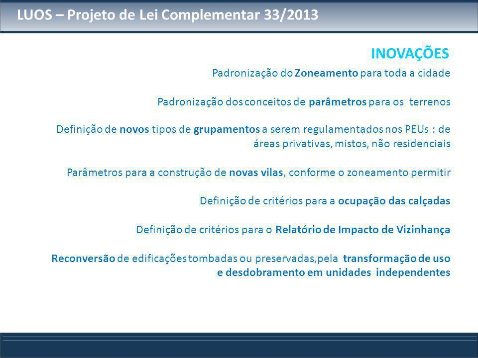 LUOS – Projeto de Lei Complementar 33/2013 INOVAÇÕES Padronização do Zoneamento para toda a cidade Padronização dos conceitos de parâmetros para os te