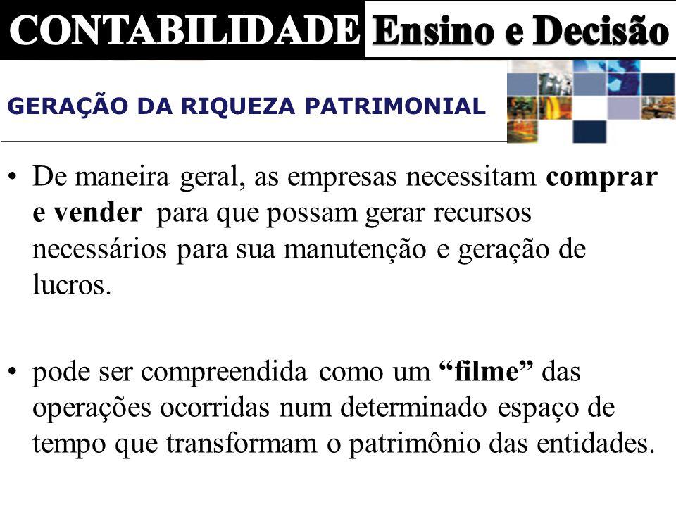 GERAÇÃO DA RIQUEZA PATRIMONIAL De maneira geral, as empresas necessitam comprar e vender para que possam gerar recursos necessários para sua manutençã