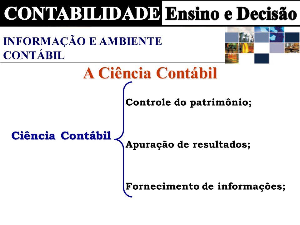 Ciência Contábil Controle do patrimônio; Apuração de resultados; Fornecimento de informações; A Ciência Contábil INFORMAÇÃO E AMBIENTE CONTÁBIL