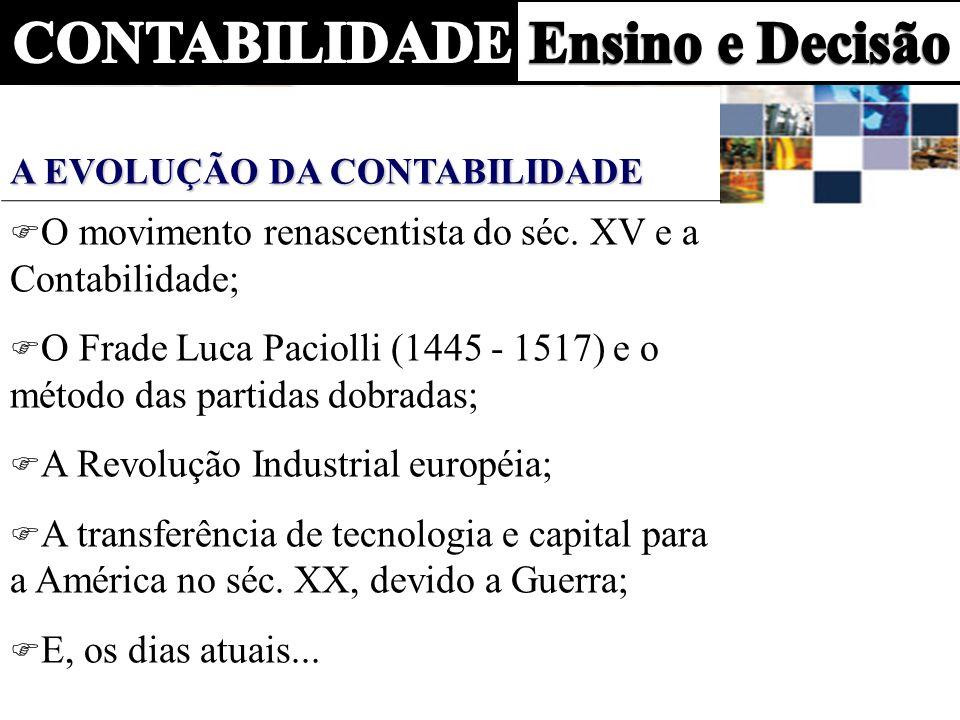 O movimento renascentista do séc. XV e a Contabilidade; O Frade Luca Paciolli (1445 - 1517) e o método das partidas dobradas; A Revolução Industrial e