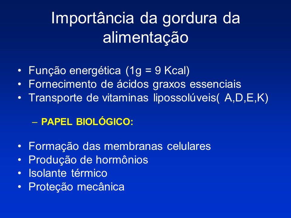 Importância da gordura da alimentação Função energética (1g = 9 Kcal) Fornecimento de ácidos graxos essenciais Transporte de vitaminas lipossolúveis(