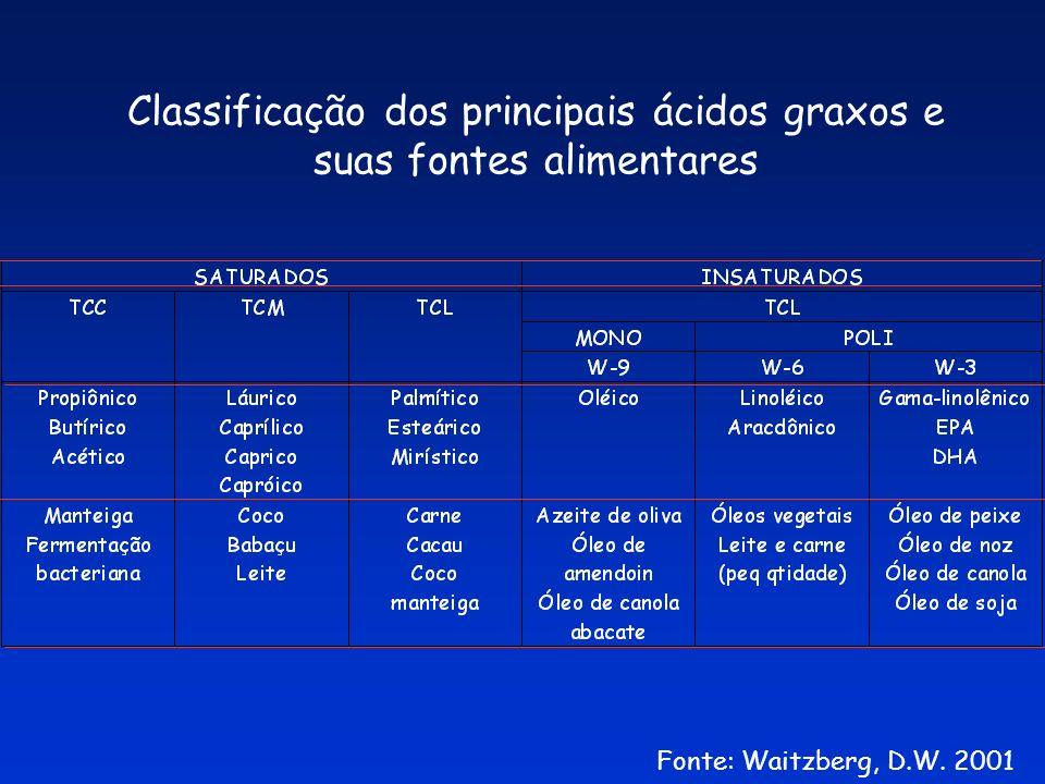 Classificação dos principais ácidos graxos e suas fontes alimentares Fonte: Waitzberg, D.W. 2001