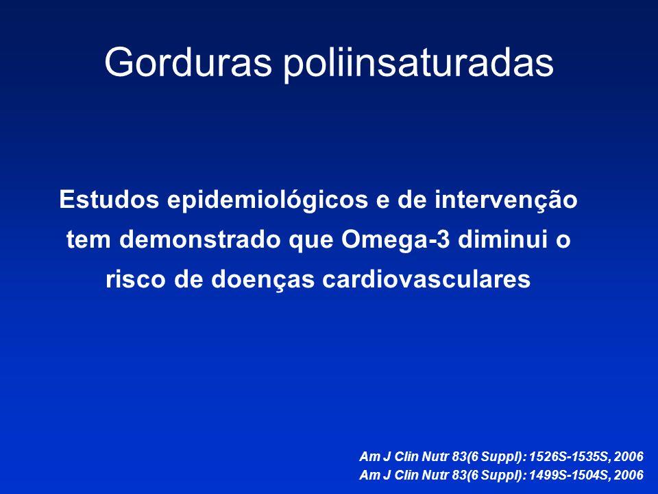 Estudos epidemiológicos e de intervenção tem demonstrado que Omega-3 diminui o risco de doenças cardiovasculares Am J Clin Nutr 83(6 Suppl): 1526S-153