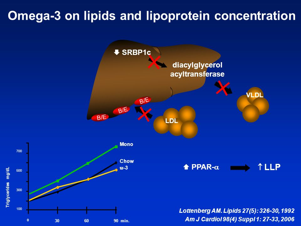 Lottenberg AM. Lipids 27(5): 326-30, 1992 Am J Cardiol 98(4) Suppl 1: 27-33, 2006 Omega-3 on lipids and lipoprotein concentration VLDL B/E LDL diacylg