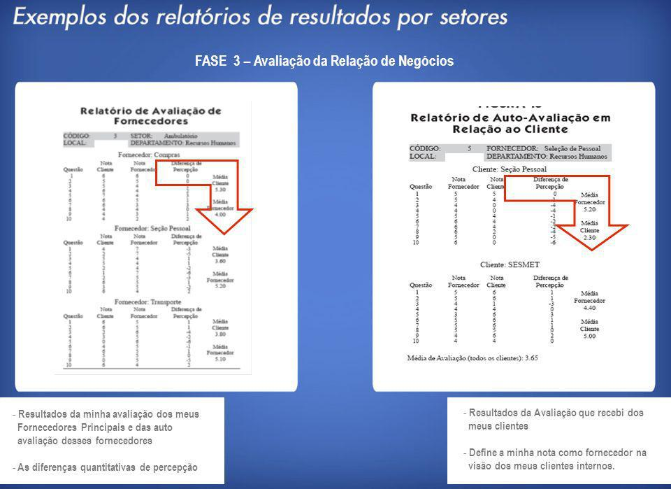 FASE 3 – Avaliação da Relação de Negócios - Resultados da minha avaliação dos meus Fornecedores Principais e das auto avaliação desses fornecedores -