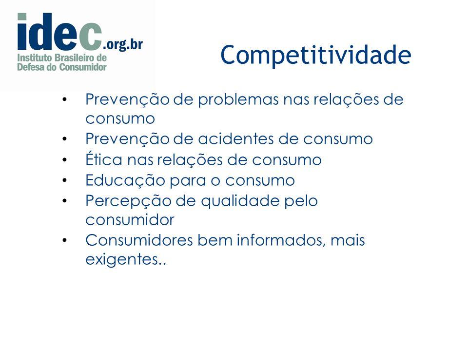 Competitividade Prevenção de problemas nas relações de consumo Prevenção de acidentes de consumo Ética nas relações de consumo Educação para o consumo Percepção de qualidade pelo consumidor Consumidores bem informados, mais exigentes..