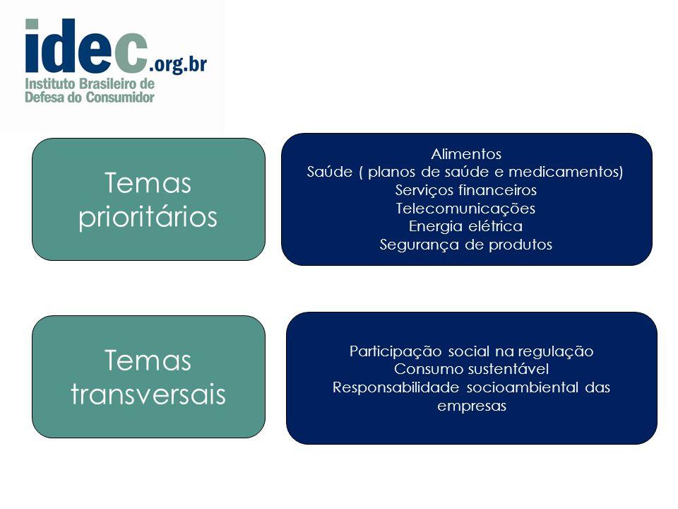 6 Alimentos Saúde ( planos de saúde e medicamentos) Serviços financeiros Telecomunicações Energia elétrica Segurança de produtos Temas prioritários Temas transversais Participação social na regulação Consumo sustentável Responsabilidade socioambiental das empresas